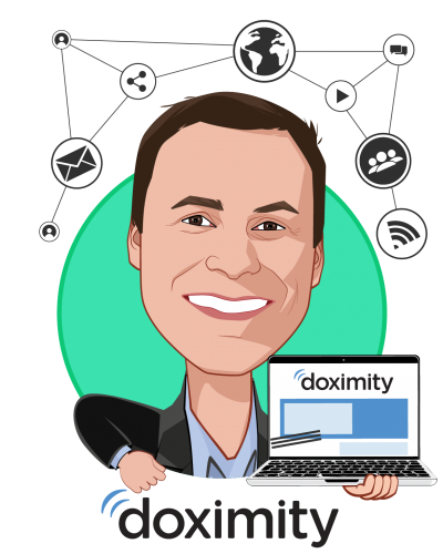 Overlay caricature of Nate Gross, MD, who is speaking at HLTH and is Co-Founder at Doximity