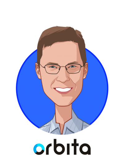 Main caricature of Nathan Treloar, who is speaking at HLTH and is President and Co-Founder at Orbita, Inc.