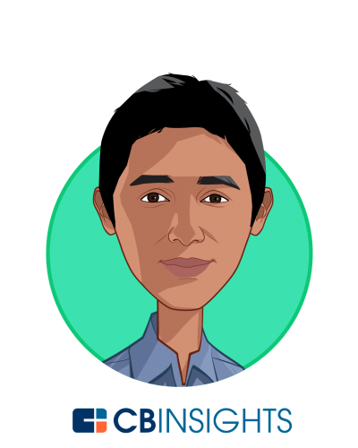 Main caricature of Nikhil Krishnan, who is speaking at HLTH and is Senior Analyst at CB Insights