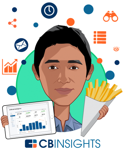 Overlay caricature of Nikhil Krishnan, who is speaking at HLTH and is Senior Analyst at CB Insights