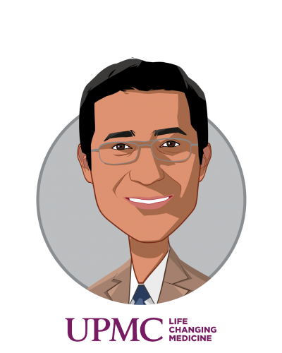 Main caricature of Rasu Shrestha, MD, MBA, who is speaking at HLTH and is Chief Innovation Officer, UPMC, and Executive Vice President, UPMC Enterprises at UPMC