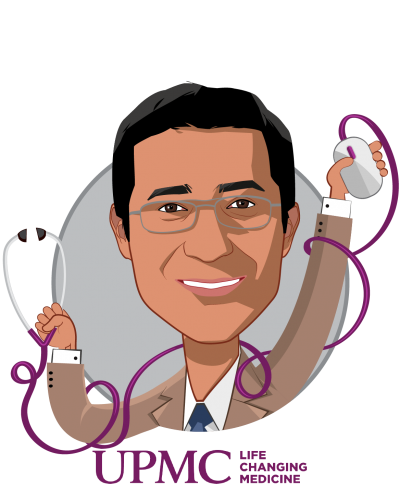 Overlay caricature of Rasu Shrestha, MD, MBA, who is speaking at HLTH and is Chief Innovation Officer, UPMC, and Executive Vice President, UPMC Enterprises at UPMC