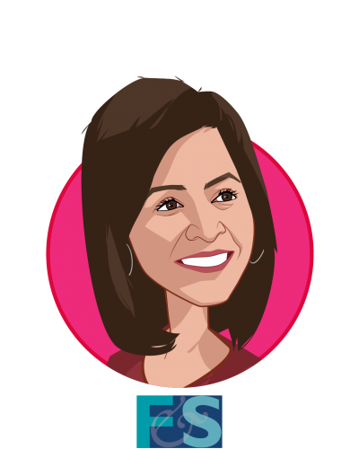 Main caricature of Reenita Das, who is speaking at HLTH and is Partner, Senior Vice President at Frost & Sullivan