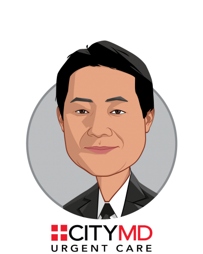 Main caricature of Richard Park, who is speaking at HLTH and is CEO at CityMD