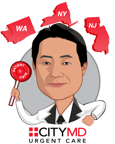 Overlay caricature of Richard Park, who is speaking at HLTH and is CEO at CityMD