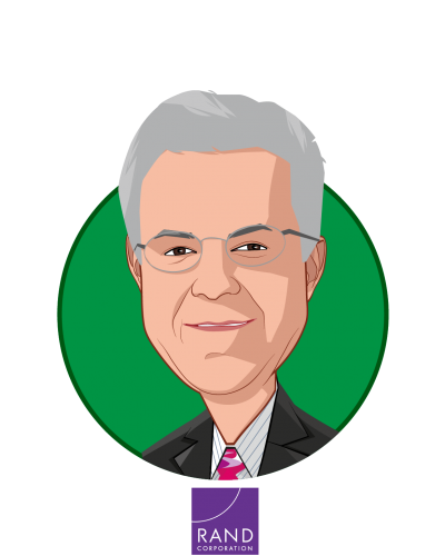 Main caricature of Robert Brook, who is speaking at HLTH and is Distinguished Chair, Health Care Services at RAND Corporation