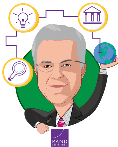 Overlay caricature of Robert Brook, who is speaking at HLTH and is Distinguished Chair, Health Care Services at RAND Corporation