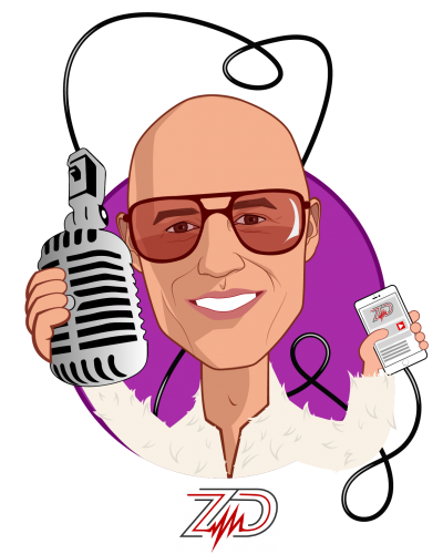 Overlay caricature of Zubin Damania, MD, who is speaking at HLTH and is Founder at ZDoggMD Industries