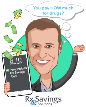 Overlay caricature of Michael Rea, PharmD, who is speaking at HLTH and is Founder & CEO at Rx Savings Solutions