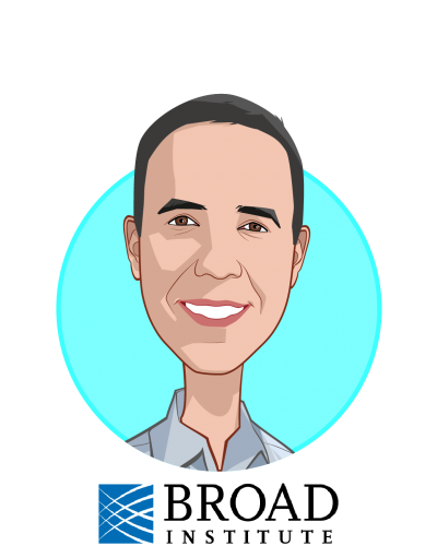 Main caricature of Anthony Philippakis, who is speaking at HLTH and is Chief Data Officer at The Broad Institute
