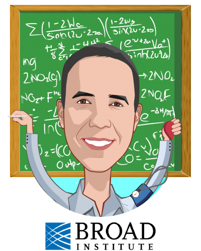 Overlay caricature of Anthony Philippakis, who is speaking at HLTH and is Chief Data Officer at The Broad Institute