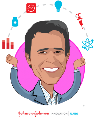 Overlay caricature of Dr. Arjun Desai, who is speaking at HLTH and is Chief Operating Officer | JLABS + Center for Device Innovation at Johnson & Johnson Innovation, JLABS