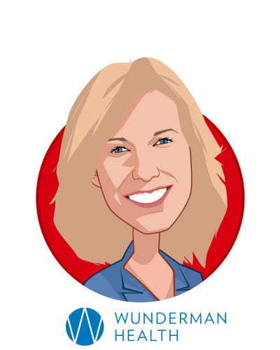 Main caricature of Becky Chidester, who is speaking at HLTH and is CEO at Wunderman Health