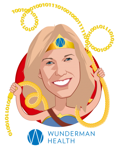 Overlay caricature of Becky Chidester, who is speaking at HLTH and is CEO at Wunderman Health