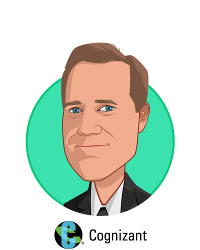 Main caricature of Bill Shea, who is speaking at HLTH and is Vice President, Cognizant Consulting, Healthcare at Cognizant