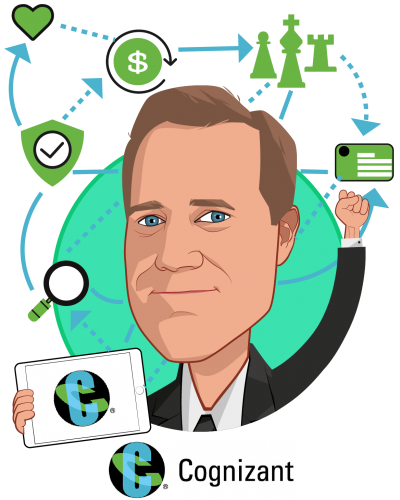 Overlay caricature of Bill Shea, who is speaking at HLTH and is Vice President, Cognizant Consulting, Healthcare at Cognizant