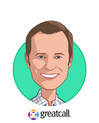 Main caricature of Bryan Adams, who is speaking at HLTH and is Chief Commercial Officer at GreatCall Inc.