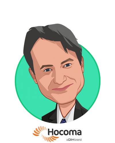 Main caricature of Frank Menzler, who is speaking at HLTH and is Executive VP & General Manager North America at Hocoma