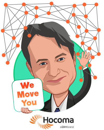 Overlay caricature of Frank Menzler, who is speaking at HLTH and is Executive VP & General Manager North America at Hocoma