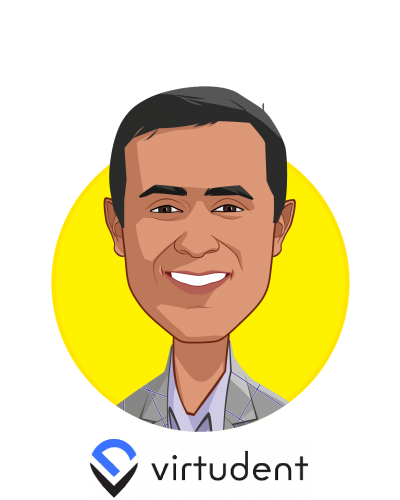 Main caricature of Dr. Hitesh Tolani, who is speaking at HLTH and is CEO at Virtudent