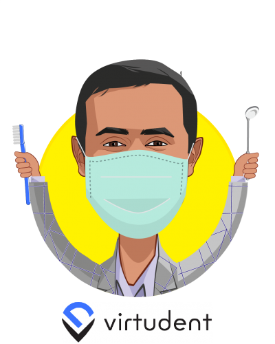 Overlay caricature of Dr. Hitesh Tolani, who is speaking at HLTH and is CEO at Virtudent