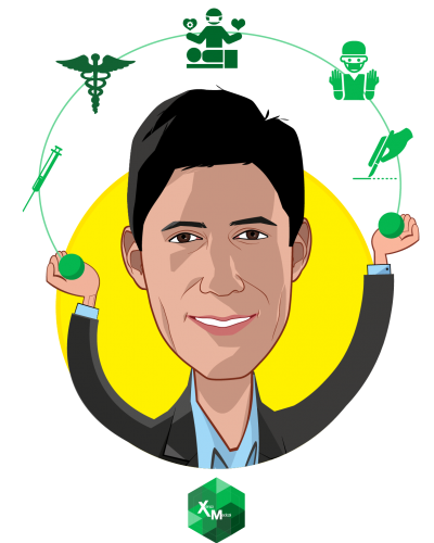 Overlay caricature of Jason Haider, who is speaking at HLTH and is Founder and CEO at Xenco Medical