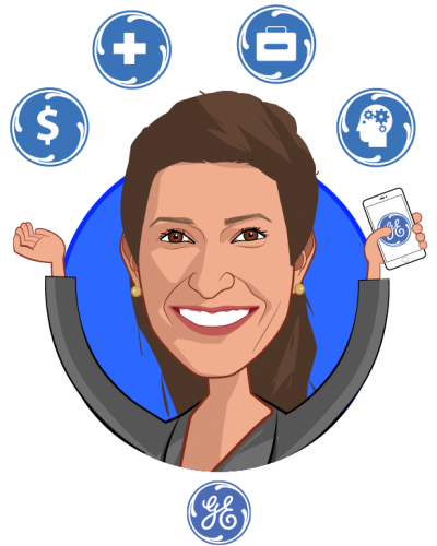 Overlay caricature of Jessica Zeaske, who is speaking at HLTH and is Director Healthcare Investments at GE Ventures