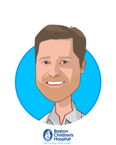 Main caricature of John Brownstein, who is speaking at HLTH and is Chief Innovation Officer at Boston Children's Hospital