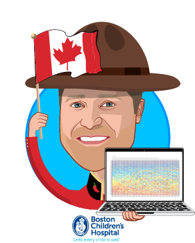 Overlay caricature of John Brownstein, who is speaking at HLTH and is Chief Innovation Officer at Boston Children's Hospital