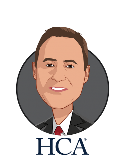 Main caricature of Jonathan Perlin, MD, Phd, who is speaking at HLTH and is President, Clinical Services and Chief Medical Officer at HCA Healthcare
