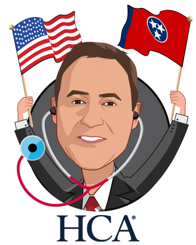 Overlay caricature of Jonathan Perlin, MD, Phd, who is speaking at HLTH and is President, Clinical Services and Chief Medical Officer at HCA Healthcare