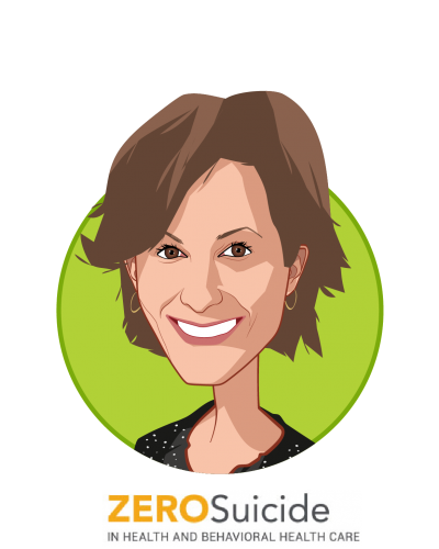 Main caricature of Julie Goldstein Grumet, PhD, who is speaking at HLTH and is Director, Zero Suicide Institute at Education Development Center
