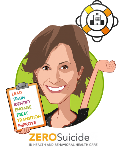 Overlay caricature of Julie Goldstein Grumet, PhD, who is speaking at HLTH and is Director, Zero Suicide Institute at Education Development Center