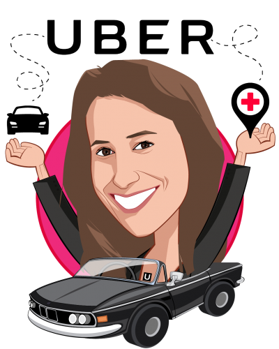 Overlay caricature of Lauren Steingold, who is speaking at HLTH and is Head of Strategy, Uber Health at Uber