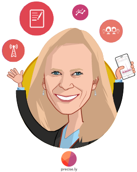 Overlay caricature of Linda Avey, who is speaking at HLTH and is CEO at Precise.ly