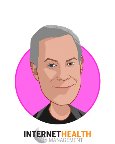 Main caricature of Mark Brohan, who is speaking at HLTH and is Editor at Internet Health Management