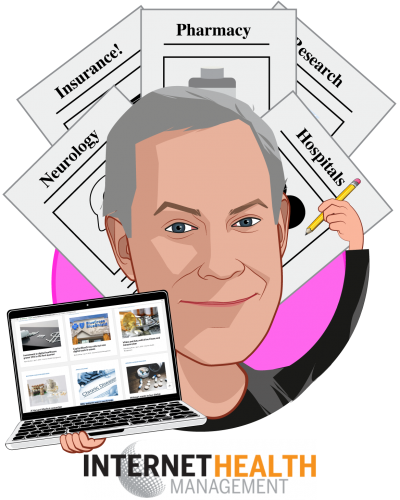 Overlay caricature of Mark Brohan, who is speaking at HLTH and is Editor at Internet Health Management