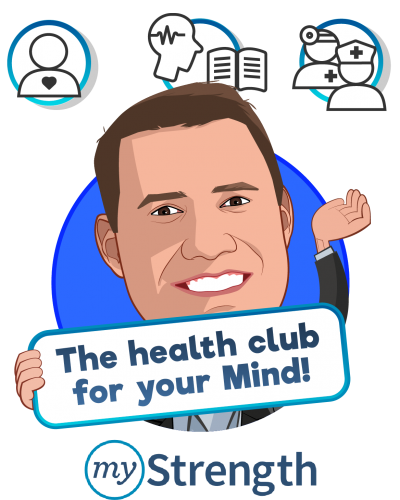 Overlay caricature of Matt Sopcich, who is speaking at HLTH and is President & Co-Founder at myStrength, Inc.
