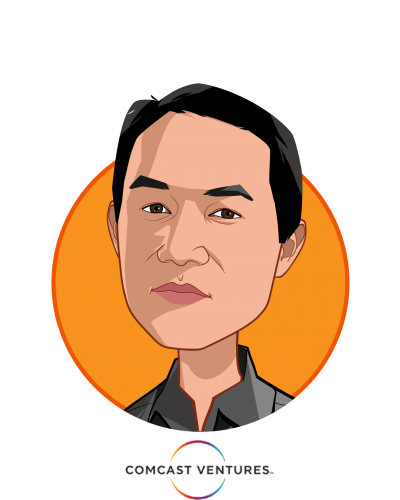 Main caricature of Michael Yang, who is speaking at HLTH and is Managing Director at Comcast Ventures