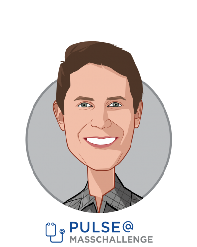 Main caricature of Nick Dougherty, who is speaking at HLTH and is Program Director at PULSE@MassChallenge
