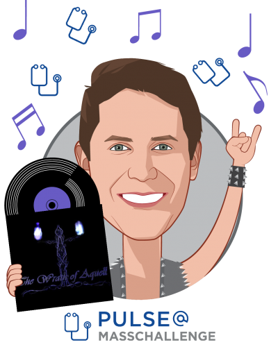 Overlay caricature of Nick Dougherty, who is speaking at HLTH and is Program Director at PULSE@MassChallenge
