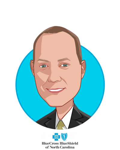 Main caricature of Patrick Conway, MD, MSc, who is speaking at HLTH and is President & CEO at Blue Cross and Blue Shield of NC