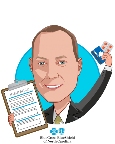 Overlay caricature of Patrick Conway, MD, MSc, who is speaking at HLTH and is President & CEO at Blue Cross and Blue Shield of NC
