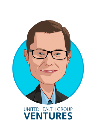 Main caricature of Rob Webb, who is speaking at HLTH and is President, UnitedHealth Group Ventures at UnitedHealth Group