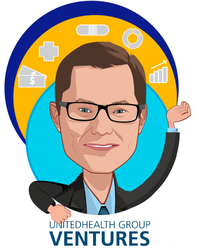 Overlay caricature of Rob Webb, who is speaking at HLTH and is President, UnitedHealth Group Ventures at UnitedHealth Group