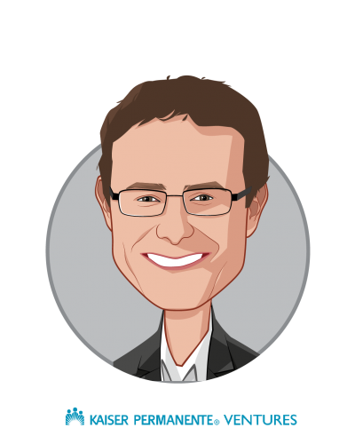 Main caricature of Sam Brasch, who is speaking at HLTH and is Senior Managing Director at Kaiser Permanente Ventures