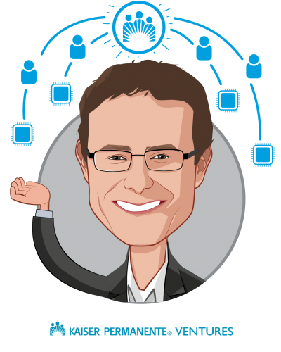Overlay caricature of Sam Brasch, who is speaking at HLTH and is Senior Managing Director at Kaiser Permanente Ventures