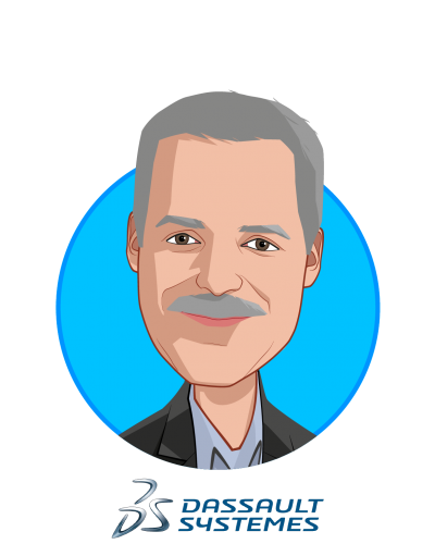 Main caricature of Steve Levine, who is speaking at HLTH and is Founder/Executive Director of the Living Heart Project & Sr. Director SIMULIA Life Sciences at Dassault Systèmes