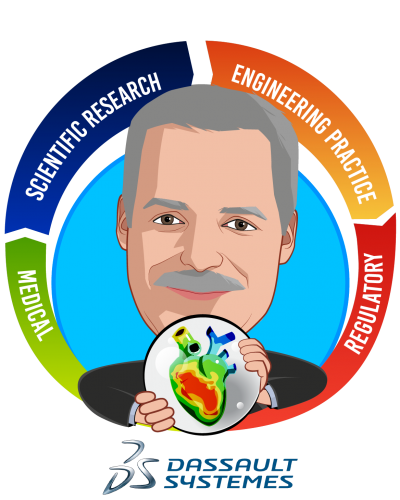 Overlay caricature of Steve Levine, who is speaking at HLTH and is Founder/Executive Director of the Living Heart Project & Sr. Director SIMULIA Life Sciences at Dassault Systèmes