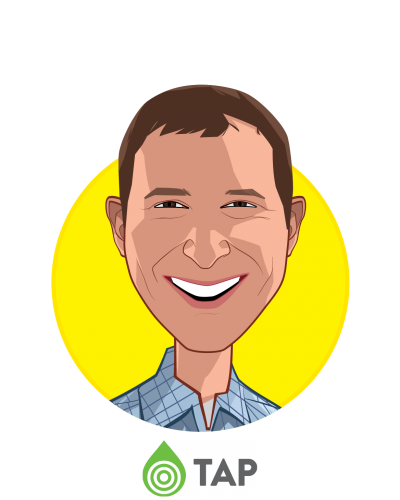 Main caricature of Stuart Blitz, who is speaking at HLTH and is Chief Business Officer at Seventh Sense Biosystems